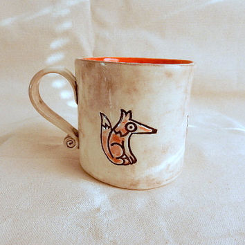 Fox Pottery Mug, Artisan Ceramic Coffee Mug, Large Tea Cup, One of a kind Mug