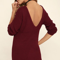 Bringing Sexy Back Wine Red Backless Sweater Dress