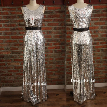 Sleeveless Sequin Prom Gown,Sparkling Party Dress Long,Unique Bridesmaid Prom Dress,Silver Sequin Long Formal Dress,Gold/Purple Sequin Dress