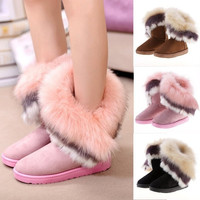 Fashion New Women's Autumn Winter Snow Boots Ankle Boots Warm Synthetic Fur Shoes 3 Colors = 1932694916