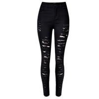 Women's Faded Ripped Washed Cuff Skinny Jeans Black 113753