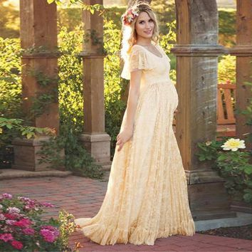 Puseky 2017 Women Dress Maternity Photography Props Lace Pregnancy Clothes Maternity Dresses For Pregnant Photo Shoot Cloth Plus