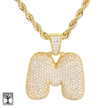 "Jewelry Kay style M Initial Custom Bubble Letter Gold Plated Iced CZ Pendant 24"" Chain Necklace"