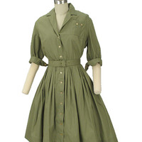 Green Vintage Shirtwaist Dress-50s Full Skirt Dresses