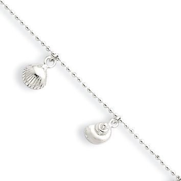 Sterling Silver 1.5mm Bead Chain And Sea Shell Charm Anklet, 9-10 Inch