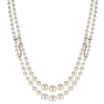 Nadri Faux Pearl and Cubic Zirconia Collar Necklace