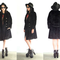 Vintage 60s FAUX FUR Wavy Double Breasted Black Long Coat Groupie Jacket // Bohemian Hippie Hipster Gypsy Grunge // XS / Small