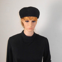 """Women's Black Cloche Hat - Peck and Peck -Mystere Imported Fur - 6 3/4"""" x 7"""" x 4 1/4"""" - Free Shipping"""