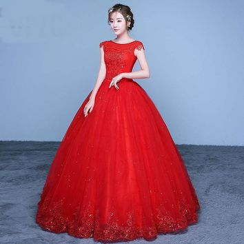 Summer Lace Sequined Red Romantic Wedding Dresses Simple Grown