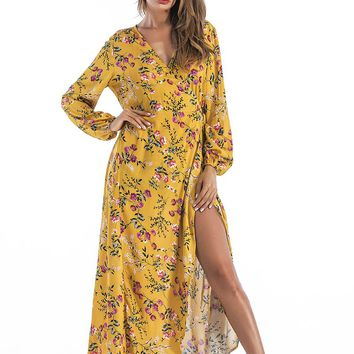 Floral Yellow V Neck Long Dress