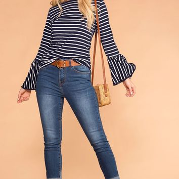 Weekend Vibes Straight Leg High Rise Cuffed Jeans