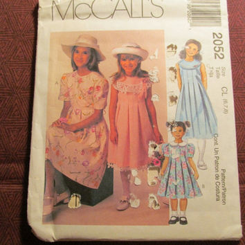 Sale Uncut 1999 McCall's Sewing Pattern, 2052! 6-7-8 Girls/Kids/Child/ Pleated Dresses/Flared Dress/Short Sleeve or Sleeveless Dresses/Colla
