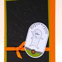 Spooky Mummy On This Handcrafted Halloween Card Green Black Orange