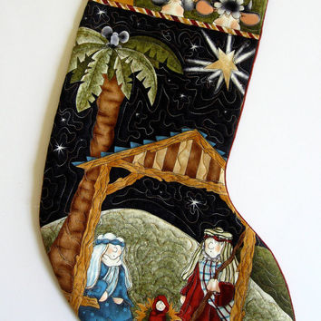 Quilted Christmas Stocking Whimsical Religious Nativity