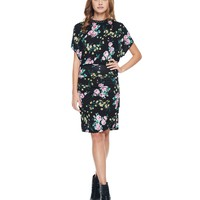 Pitch Black Combo Vintage Rosebuds Rouched Sleeveless Dress by Juicy Couture,