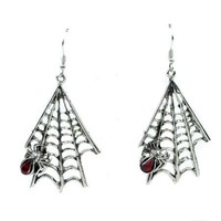 Hanging Gothic Spider Web & Spider Earrings Jewelry