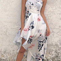 White High Neck Sleeveless Floral Print Irregular Hem Dress