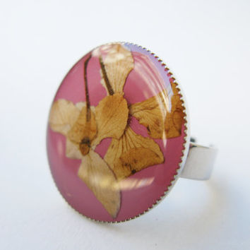 Real Dried Flowers Ring, Botanical Ring, Lilac Resin Ring, Pressed Plant Jewelry, Adjustable Ring, Teens Gift, Nature Inspired, Pink Ring