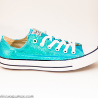 Mediterranean Blue Sequin Canvas All Star Lo Top Sneakers Shoes