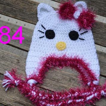 free shipping, 10pcs/LOT baby Crochet Kitty Hat, Baby Cat Hat Crochet Animal Hat, Baby Photo Prop 100% cotton NB-6years