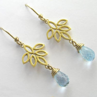 14k Gold Dangle Leaves Earrings with Blue Topaz drops  - Yellow Gold Flower - Bridal Earrings - Solid Gold