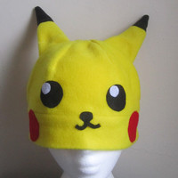 Pikachu Fleece Hat Pokemon Anime Manga Cosplay Rave Skiing Snowboarding Video Game