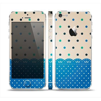 The Tan & Blue Polka Dotted Pattern Skin Set for the Apple iPhone 5