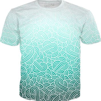 Ombre turquoise blue and white swirls doodles T-Shirt
