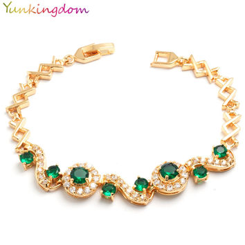 Yunkingdom luxury vintage Serpentine jewelry sapphire synthetic ruby bracelet for women yellow gold filled Bijouterie 6 colors