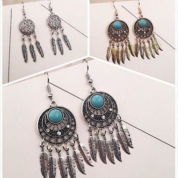 CREYCT9 Vintage Earrings Leaf Tassels Turquoise Feather Dream Catcher [11573014036]