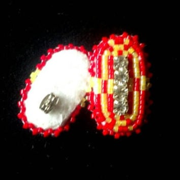 Native American beaded pow wow regalia earrings in red and yellow delica seed beads with rhinestone banded center; posts; Fancy Dancer child