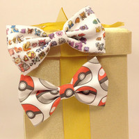 Pokeball and Pokemon Handmade Hair Bow set