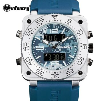 INFANTRY Men Watches Top Brand Luxury Camo Style Chronograph Rubber Sport Watches Alarm Clock Square Dial Quartz Wristwatch