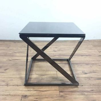 Mid-Century Modern Style Glass Top End Table