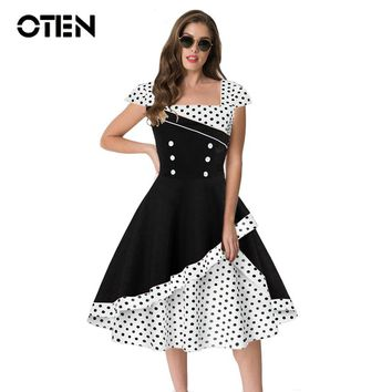 OTEN Summer dress 2018 cute pin up vintage retro 50s 60s Elegant Women Polka dot Printed short sleeve party gown skater dresses