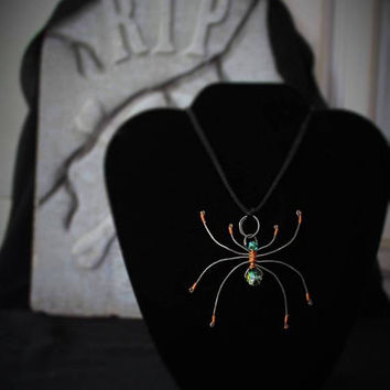 Spider Necklace, Handmade Wire Wrapped, Halloween Jewelry