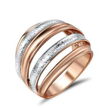 Multi-layered Stack Rings in Rose Gold/Silver/Gold