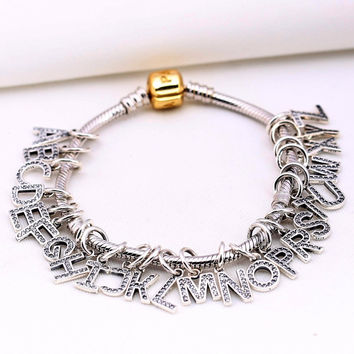 Silver Letter Beads Fit Pandora Charm Bracelet 925 sterling silver Pendant Original Authentic Alphabet DIY Woman Fashion Jewelry