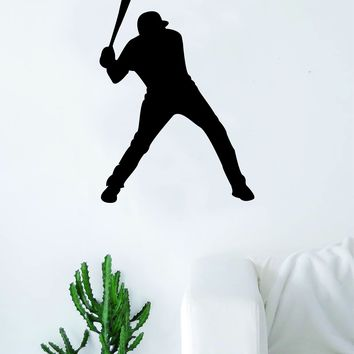 Baseball Player Silhouette v1 Wall Decal Sticker Bedroom Living Room Decor Art Vinyl Sports Teen Kids Ball Home Run Batter