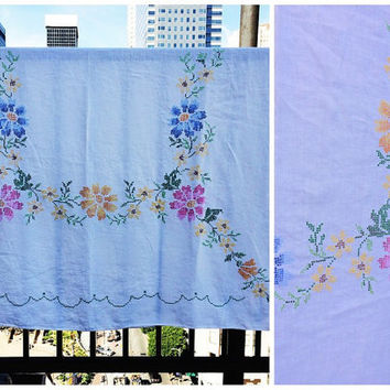 Vtg embroidered tablecloth Floral multi-color handmade beautiful sweet country