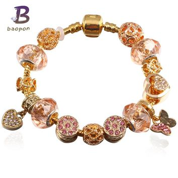 BAOPON Fashion Style Gold Colour Butterfly&Love Dangles Dangles Pandora Bracelet With Nice Charm Bracelet For Women BR201