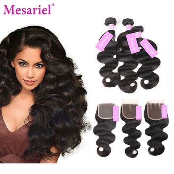 Mesariel Brazilian Body Wave With Closure Hair Extension 2 3 4 Bundles Weave With Closure Human Hair Bundles With Closure