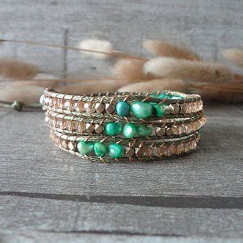 Beaded Wraps Simulated Leather Wrap Bracelet Beaded Strand Wrap Bracelet 3 Wraps Pearl Dyed 12406