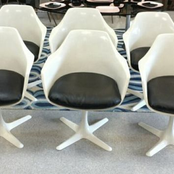 6 Mid Century Vintage White Swivel Tub Chairs