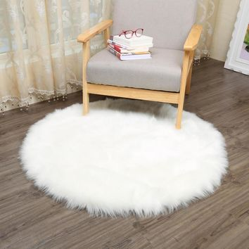 MUZZI Round Sheepskin Chair Cover Seat Pad Soft Carpet Hairy Plain Skin Fur  Plain Fluffy Area
