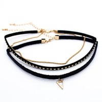 Triangle stud choker necklace set