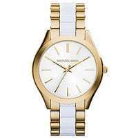 Michael Kors Slim Runway Gold & White 3-Hand Watch