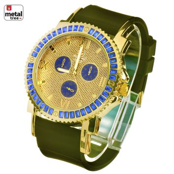 Jewelry Kay style Men's Iced Out 14k Gold Plated Silicone Band Techno Pave Watches WR 8247 GBLBK