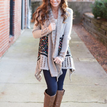 Glitz and Glamour Open Cardigan - Taupe