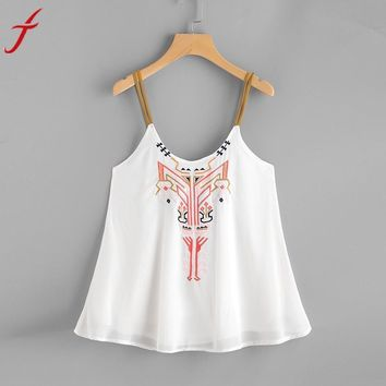 Casual Women Embroidery Cami Top Sleeveless Crop Top Vest Tank Shirt Tie Clothing 2017 Vintage O Neck Satin Camisole Plus Size